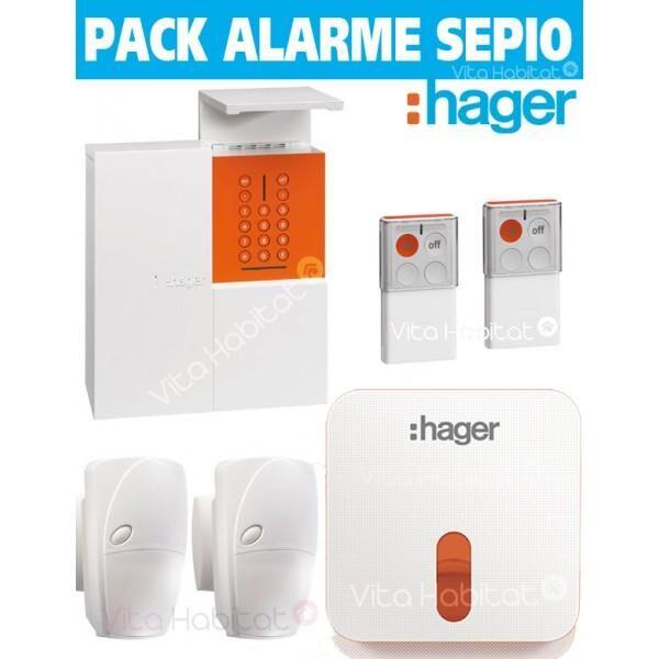 HAGER OFFRE Pack Alarme Radio SEPIO RLP305-MAISON avec Sirene Exterieure - RADIO- Logisty Hager