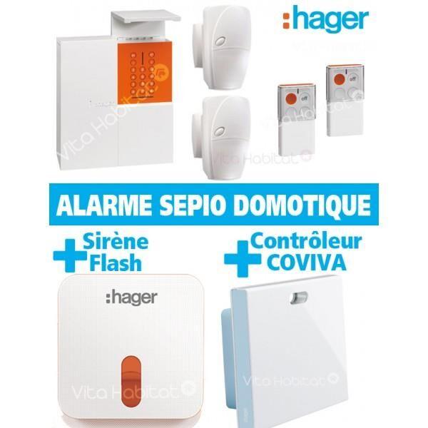 HAGER Pack Alarme Radio SEPIO Domotique RLP306F avec Sirene Exterieure - sans fil - Logisty Hager RLP306F