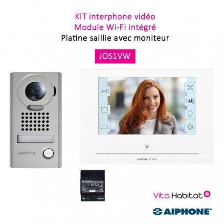 AIPHONE Kit portier Vidéo AIPHONE - Platine saillie - module Wi-Fi intégré - JOS1VW 130413