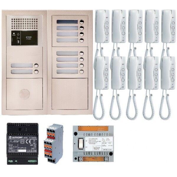 AIPHONE Pack audio 10 BP avec 10 postes GT1D préprogrammés GTBA10E - Aiphone 200381