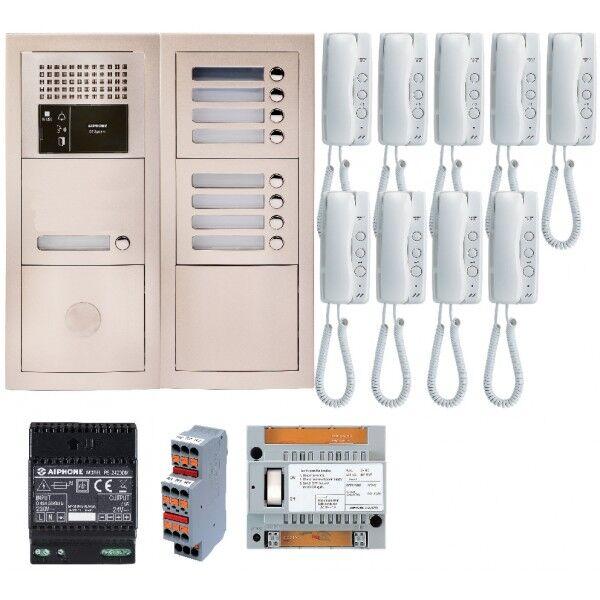 AIPHONE Pack audio 9 BP avec 9 postes GT1D préprogrammés GTBA9E - Aiphone 200380