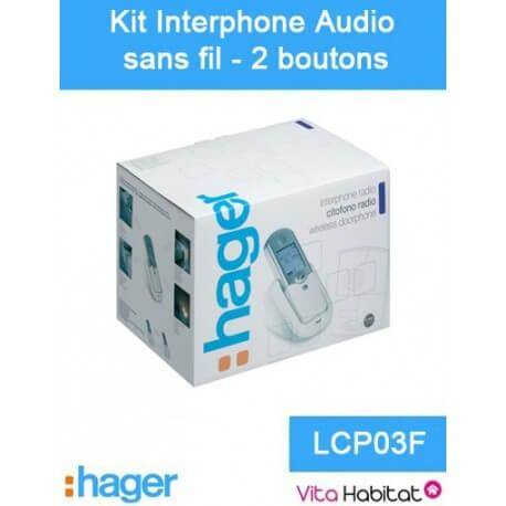 HAGER Kit Interphone audio sans fil - 2 logements 2 boutons - Hager logisty - LCP03F