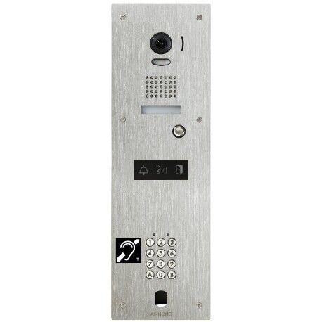 AIPHONE Platine vidéo inox encastrée 1BP avec clavier 100 codes, perçage VIGIK et boucle magnétique à encombre KJPLVBMA - Aiphone 130352