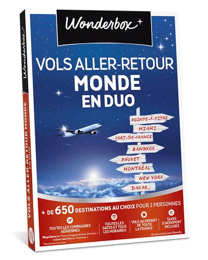 Wonderbox Coffret cadeau Vols aller-retour Monde en duo - Wonderbox