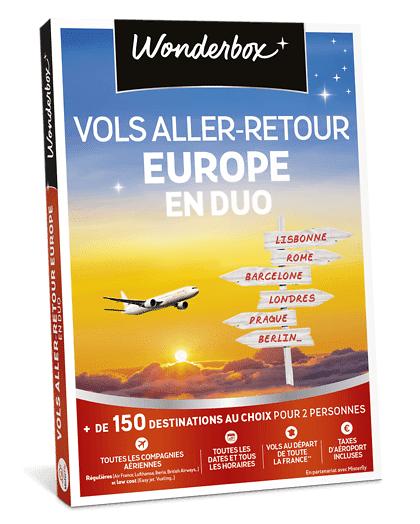 Wonderbox Coffret cadeau Vols aller retour Europe en duo Wonderbox