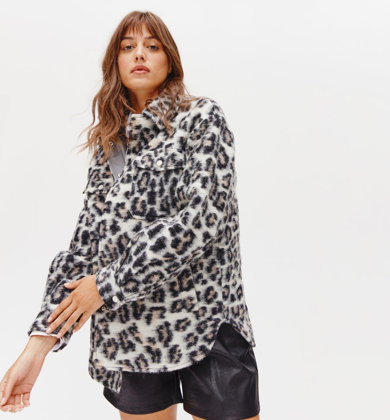 Promod Surchemise en laine italienne - Imprimé noir - 42  - Promod -  Vêtements &  MODE Femme