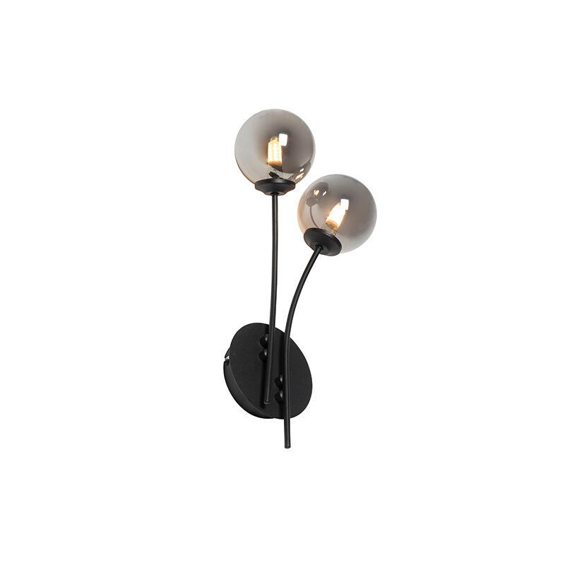 QAZQA Applique moderne noire 2 lumières avec verre fumé - Athènes