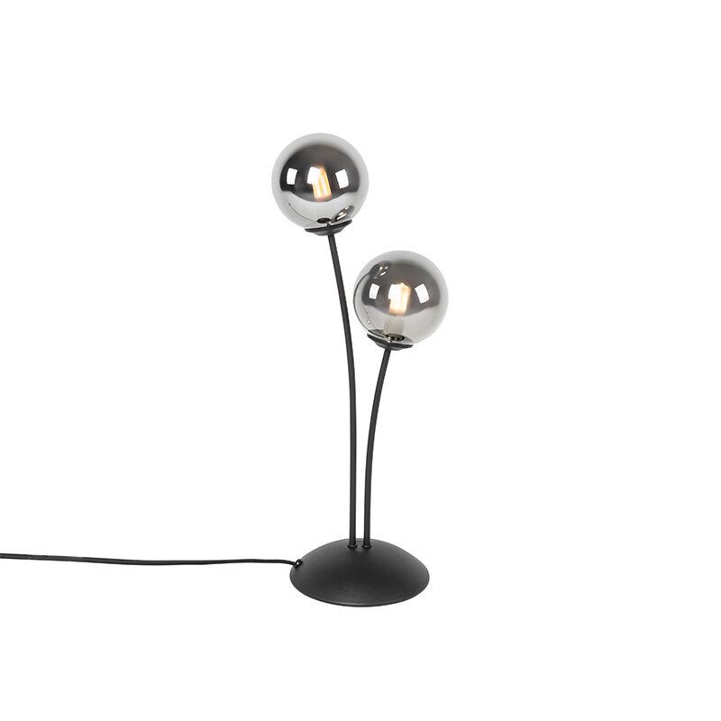 QAZQA Lampe de table moderne noire à 2 lumières avec verre fumé - Athènes