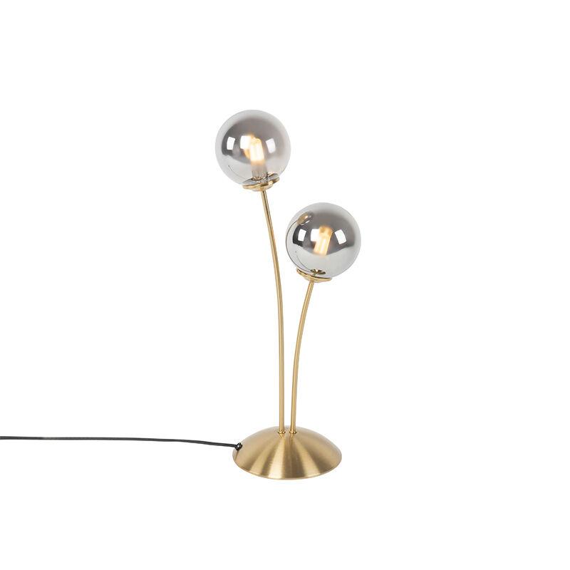 QAZQA Lampe de table moderne dorée à 2 lumières avec verre fumé - Athènes