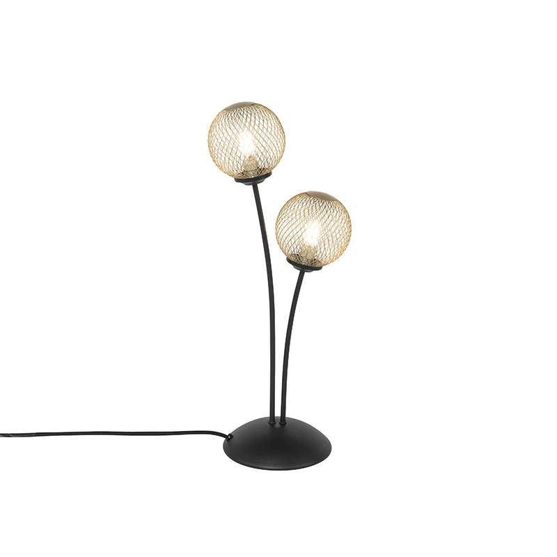 QAZQA Lampe de table moderne noire à 2 lumières dorées - Athens Wire