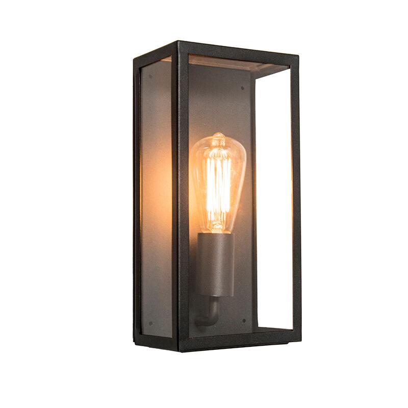 QAZQA Applique d'extérieur industrielle rectangulaire noire avec verre IP44 - Rotterdam