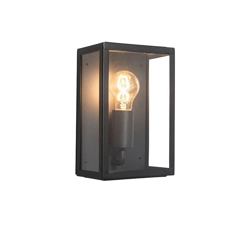 QAZQA Applique d'extérieur industrielle noire avec verre IP44 - Rotterdam 2