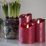 Kaemingk Set de 3 Bougies décoratives de Noël LED rouge