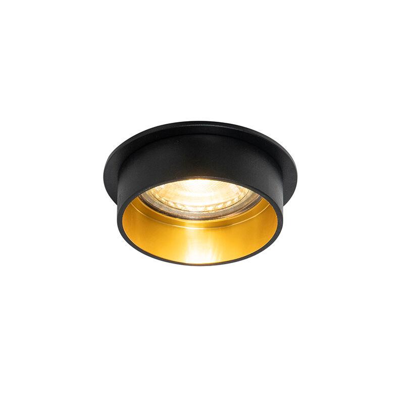 QAZQA Spot encastrable moderne noir avec or - Insta