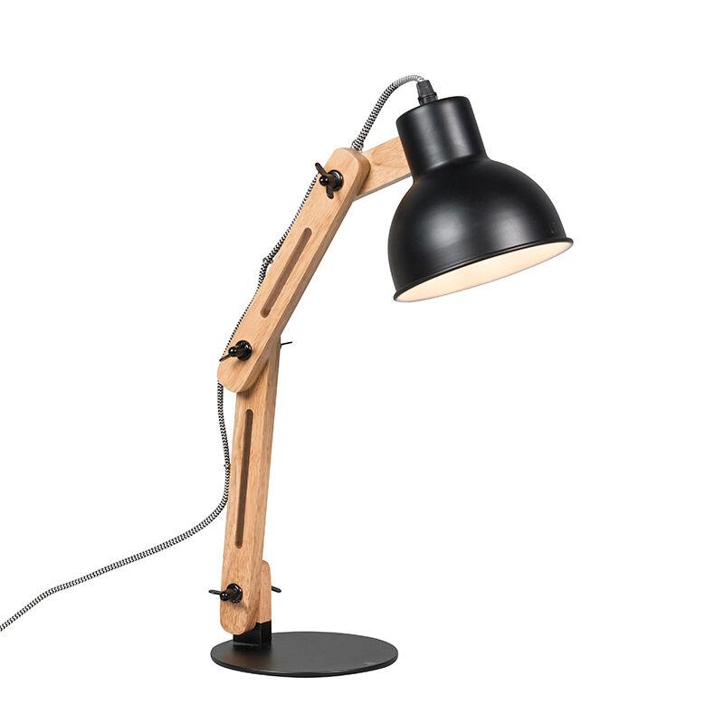 QAZQA Lampe de table industrielle noire avec bois - Woodi