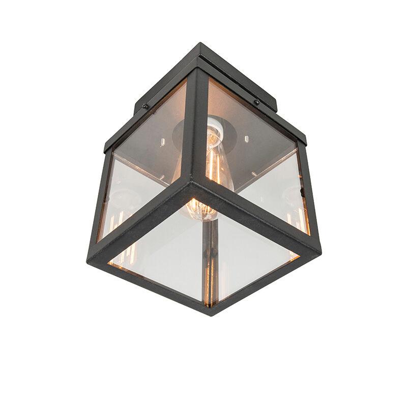 QAZQA Plafonnier d'extérieur industriel noir 1 lumière - Rotterdam