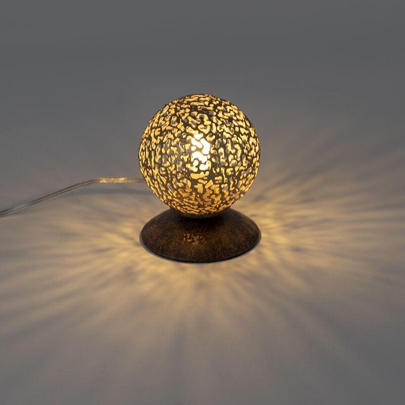 Paul Neuhaus Lampe de table rurale brun rouille 10 cm - Crète