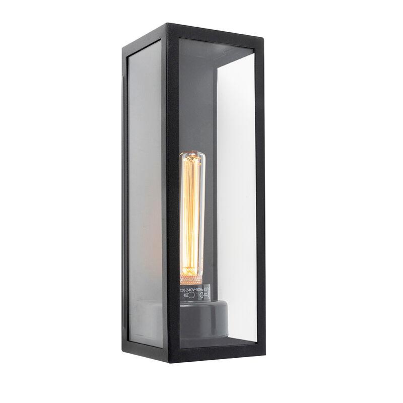 QAZQA Applique extérieure rectangulaire moderne noire verre - Rotterdam Long