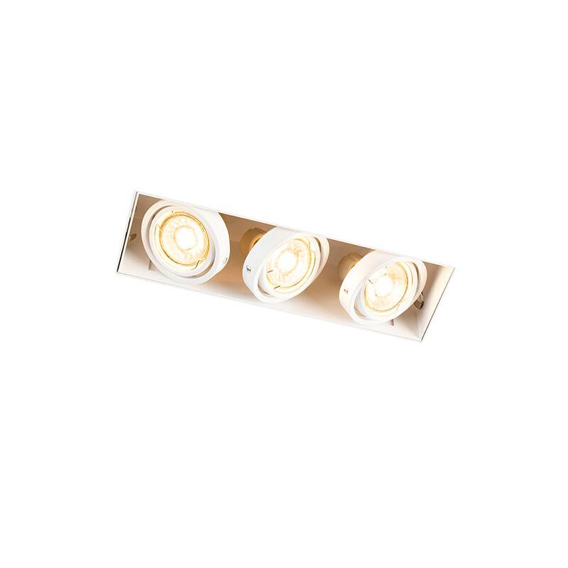QAZQA Spot à encastrer blanc orientable et inclinable sans trim à 3 lumières - Oneon 3