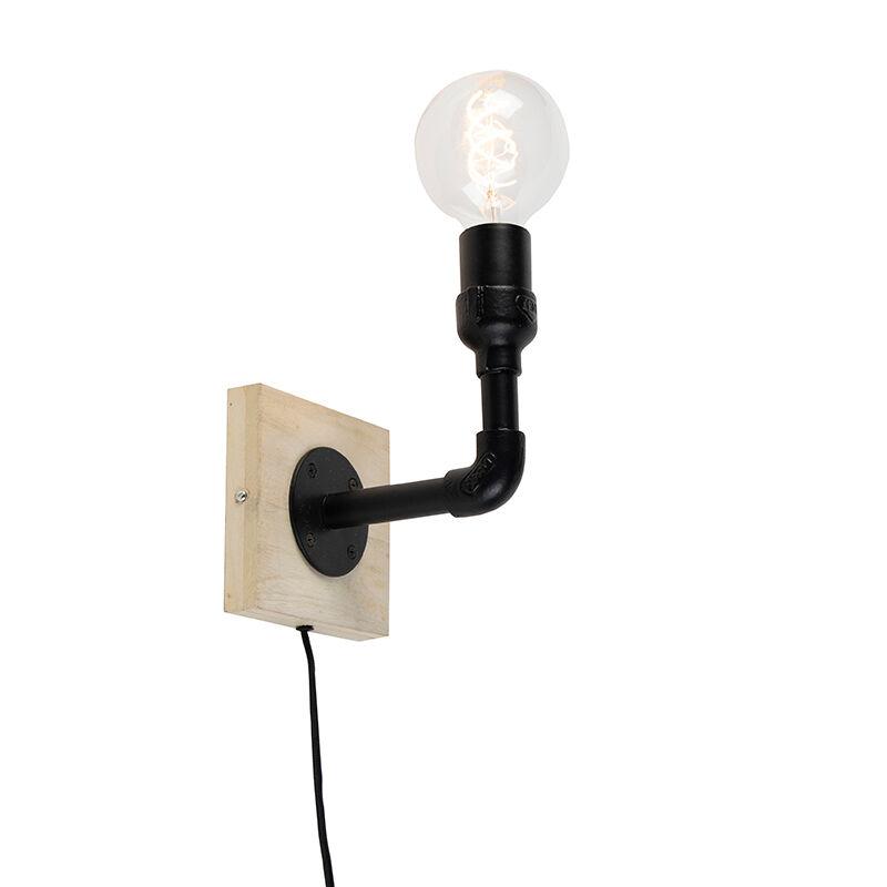 QAZQA Applique industrielle noire sans abat-jour 1 lumière avec plaque murale en bois - Tubs