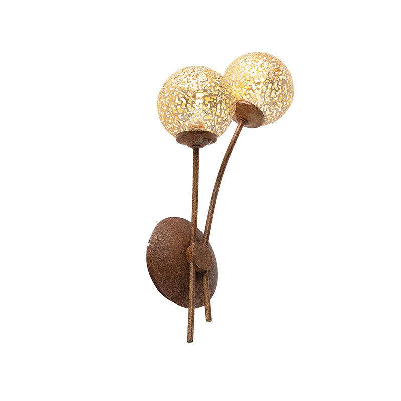 Paul Neuhaus Applique marron rustique avec interrupteur 2 lumières - Crète