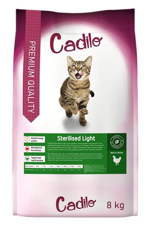 Cadilo Sterilised Light pour chat 8 kg + 2 kg gratuits