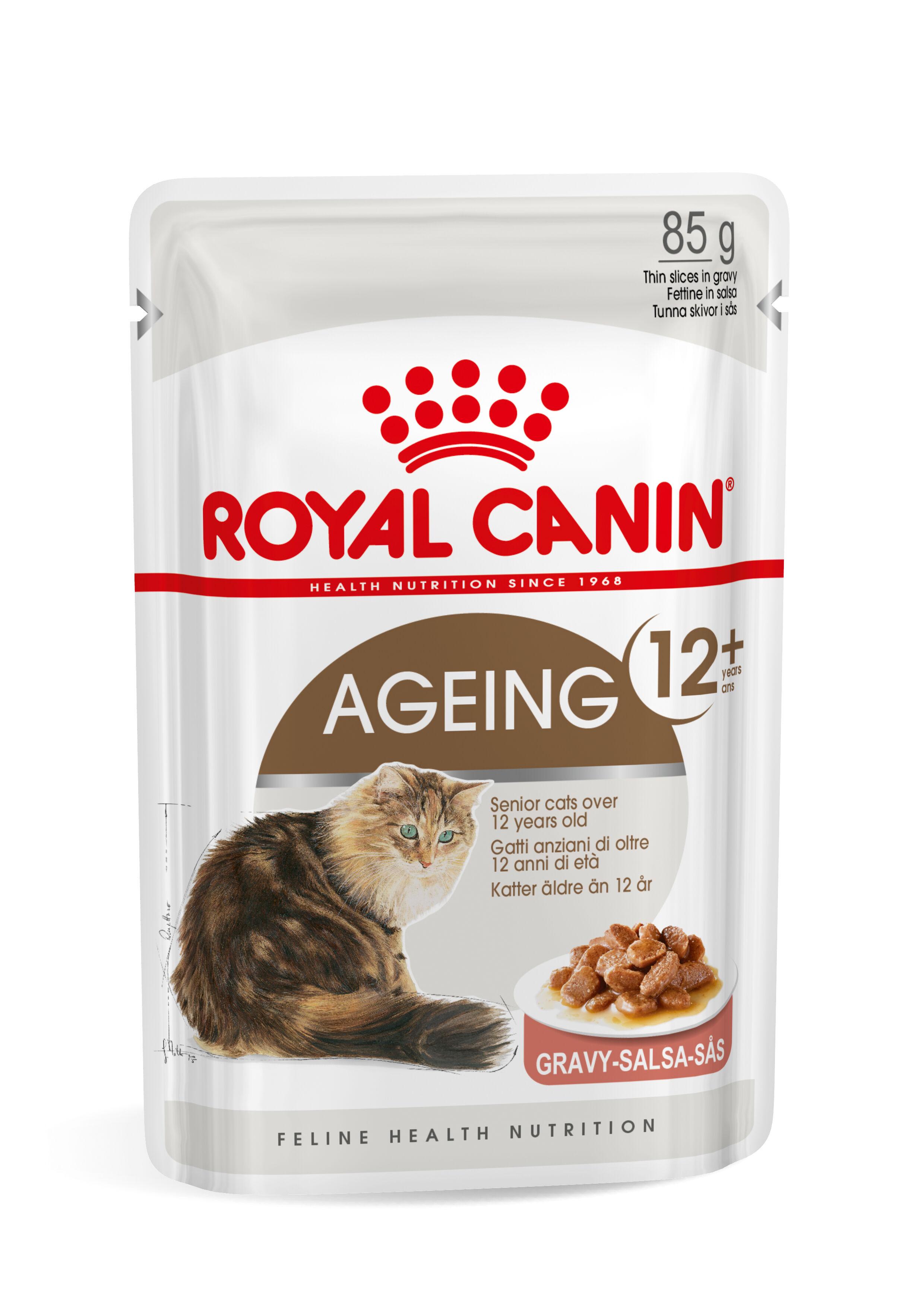 Royal Canin Ageing 12+ pour chat x12 sachets 2x Sauce + 2x Gelée (48x85 gr)