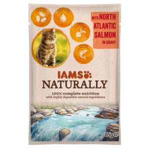 Iams Naturally Adulte Saumon pâtée pour chat Par 48 portions