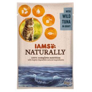 Iams Naturally Adulte Thon sacs de 85g pour chat Par 48 portions