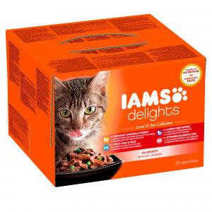 Iams Delights Collection Terres & Mers 24 x 85g pour chat En Sauce