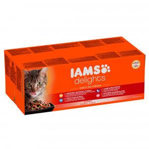 Iams Delights Collection Terres & Mers 48 x 85g pour chat 2 x En Sauce