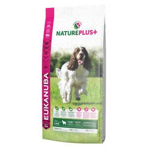 Eukanuba NaturePlus+ Adult Medium breed à l'agneau frais pour chien 2 x 10 kg