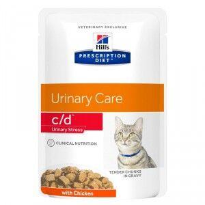Hill's Prescription Diet Hill's Prescription C/D Urinary Stress pâtée pour chat 85 g 8x 12 zakjes (96x 85 gr)