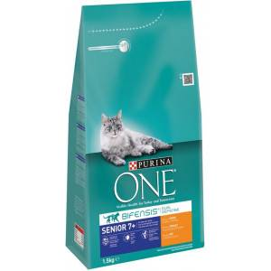 Purina One Senior 7+ Poulet céréales complètes pour chat 2 x 3 kg + 2 x Purina One Pouch Adult Poulet