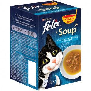 Felix Soup Original Selection de Poissons pour chat (6x48g) 4 x (6 x 48g)