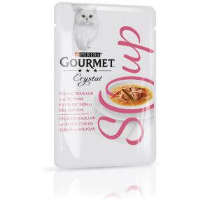 Gourmet Crystal Soup Thon et Anchois pour chat (32x40g) 32 x 40g