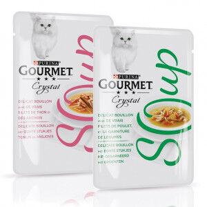Gourmet Crystal Soup Combipack pour chat Thon et Anchois (32x40g) + Poulet & Légumes (32x40g)