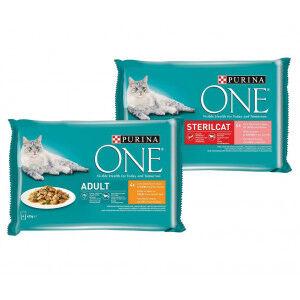 Purina One Combi Pack 48x85g pour chat Pouch Adulte Poulet (24x85g) + Pouch Sterilcat Saumon (24x85g)