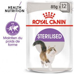 Royal Canin Sterilised pâtée pour chat 12x 2x Sauce + 2x Gelée (48x85 gr)