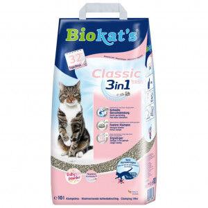 Biokat's Classic fresh 3in1 litière pour chat parfum poudre pour bébé 10 Litres