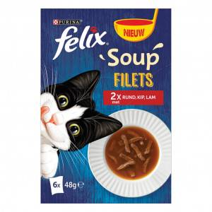 Felix Soupe Filets au bœuf / poulet / agneau pour chat (6x48g) 4 x (6 x 48g)
