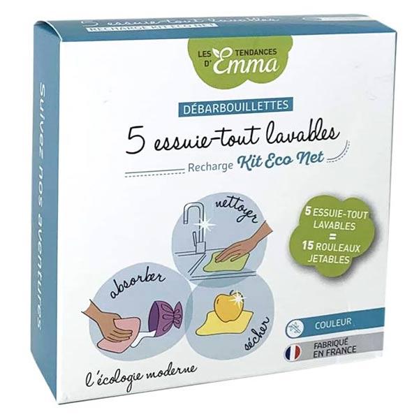 Les Tendances d'Emma Recharge Kit Eco Net Débarbouillettes Essuie-Tout Lavables Bambou Couleur 5 unités