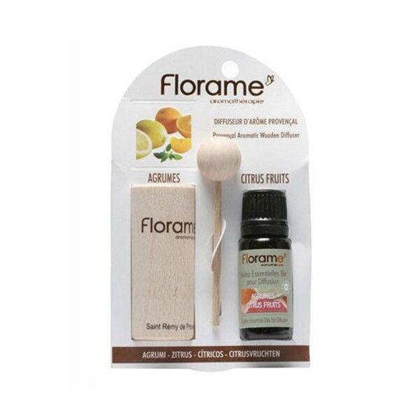 Florame Aromathérapie Diffuseur d'Arôme + Huile Essentielle Agrumes Bio 10ml
