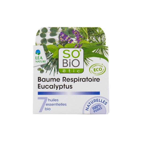So Bio Etic Baume Respiratoire Eucalyptus aux 7 Huiles Essentielles Biologiques 50ml