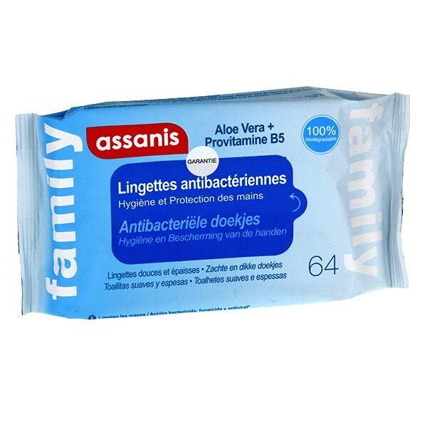 Assanis Family Lingettes Antibactériennes pack de 64