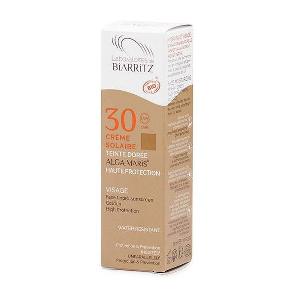 Laboratoires de Biarritz Algamaris Crème Solaire Visage Bio Teinte Dorée SPF30 50ml