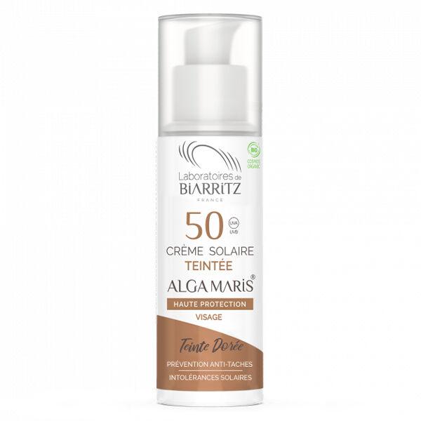 Laboratoires de Biarritz Alga Maris Crème Solaire Teintée SPF50 Dorée Bio 50ml