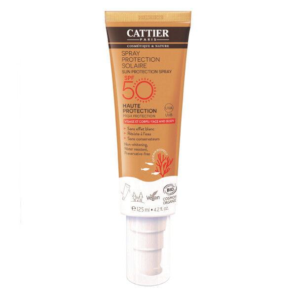 Cattier Solaire Spray Protection Visage et Corps Bio SPF50 125ml