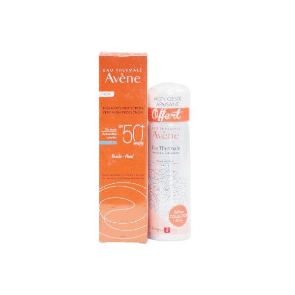 Avène Solaire Fluide Minéral SPF 50+ 50ml + Eau Thermale 50ml Offerte