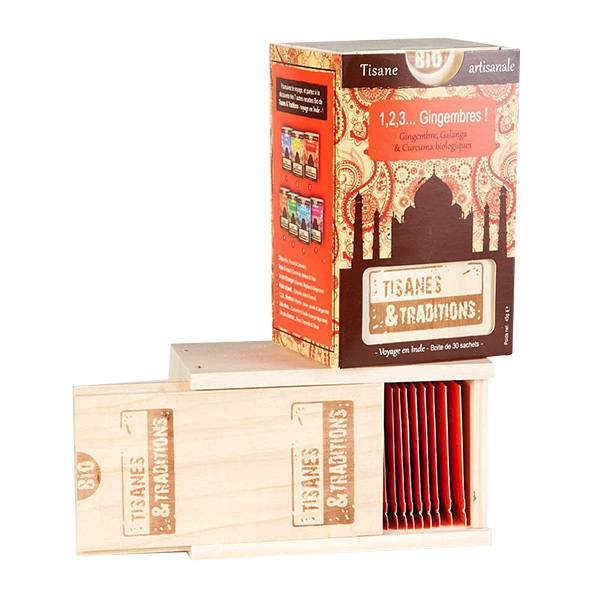 7750092 Tisanes & Traditions 1,2,3 Gingembres Boite en Bois 30 Sachets